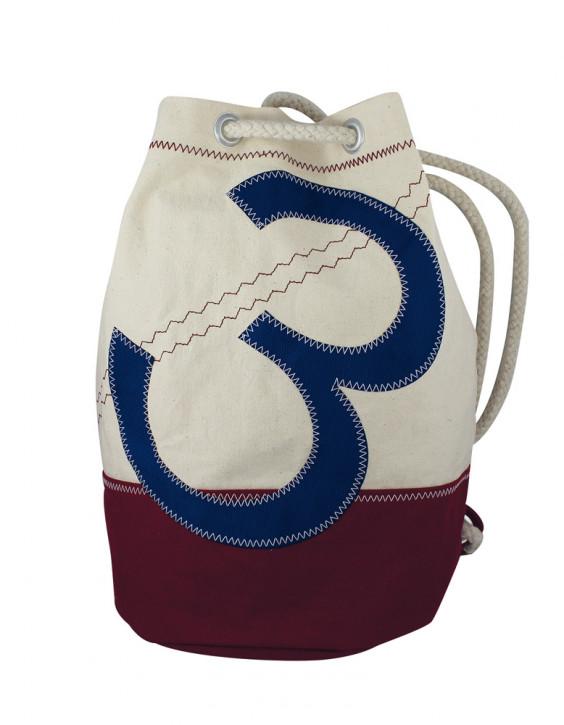 Rucksack klein mit Zahlenmotiv, Baumwolle, beige/weinrot/blau, H: 36cm, Ø 22cm