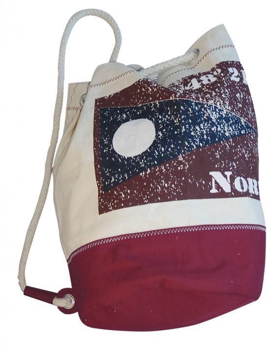 Rucksack klein mit Flagge NORD, Baumwolle, beige/rot, H: 36cm, Ø 22cm
