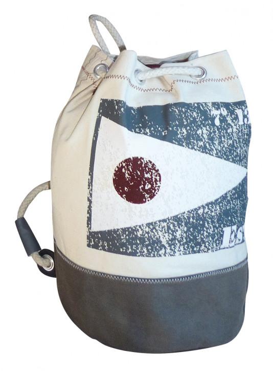 Rucksack klein mit Flagge EST, Baumwolle, beige/grau, H: 36cm, Ø 22cm