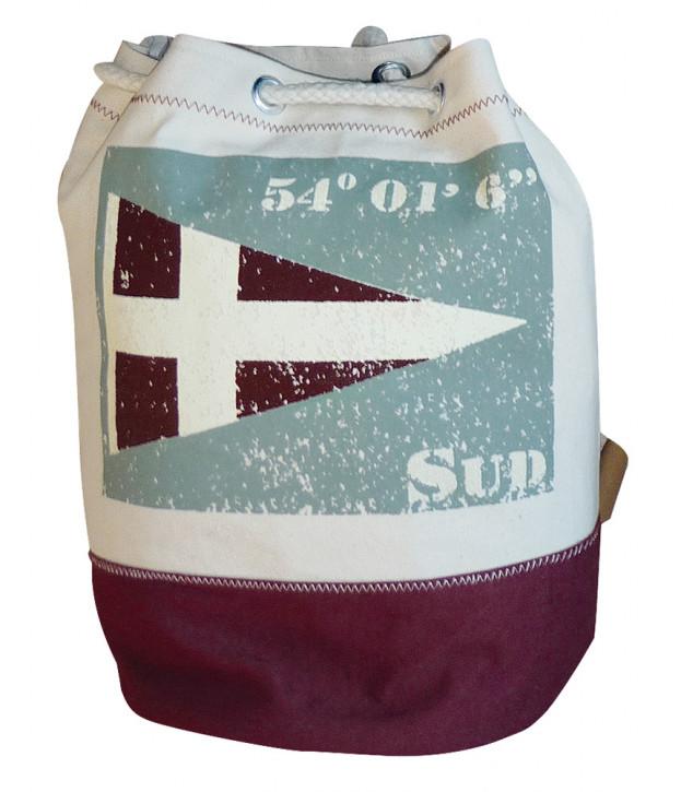 Rucksack klein mit Flagge SUD, Baumwolle, beige/weinrot/grau, H: 36cm, Ø 22cm