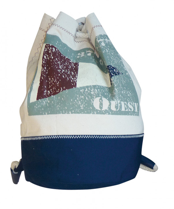 Rucksack klein mit Flagge OUEST, Baumwolle, beige/blau/grau, H: 36cm, Ø 22cm