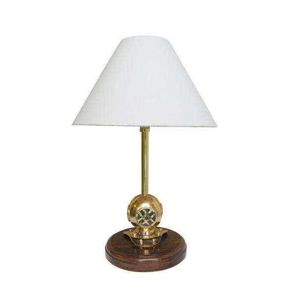 Lampe - Taucherhelm, elektrisch 230V, Holz/Messing, H: 39cm, Ø: 15/25cm
