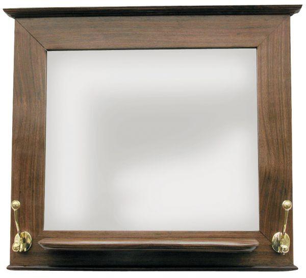 Garderoben-Spiegel, Holz mit Ablage und 2 Messingdoppelhaken, 46x40x12cm