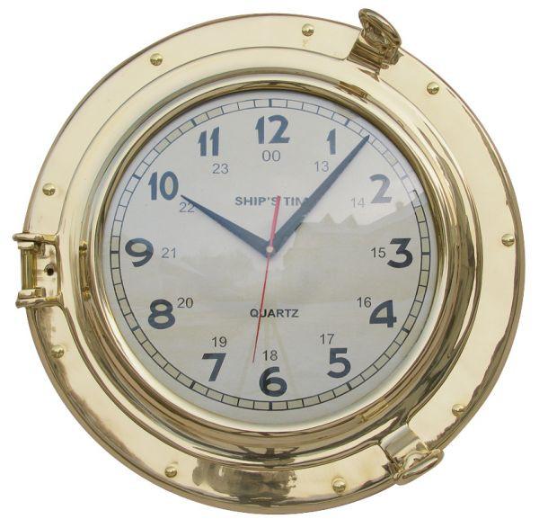 Uhr im Bullauge, Quartzwerk, Messing, Ø: 40cm