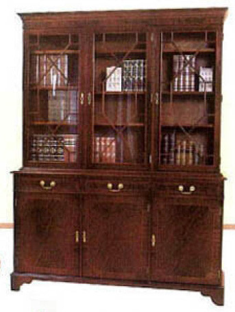 Three door library bookcase auch in Eibe
