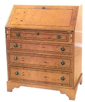 Bureau mit vier Schubladen und Ledereinlage