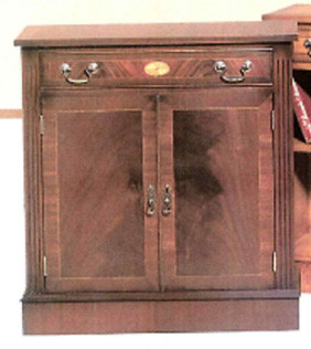 """One Drawer Marquetry Inlay Cupboard"" in Mahagoni - ebenfalls in Eibe erhältlich"