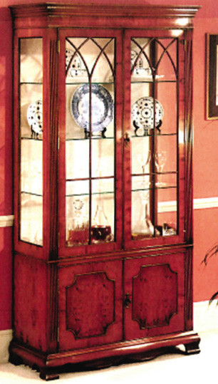 Display cabinet, moire silk lined, 3 glass shelves.