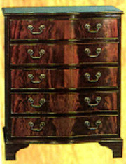 5 drawer serpentine flat. Mahogony or yew