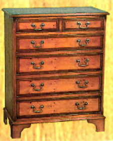 6 drawers split chest. Flat front. Mahogony or yew