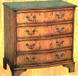 4 drawers serpentine chest. Mahogony or yew