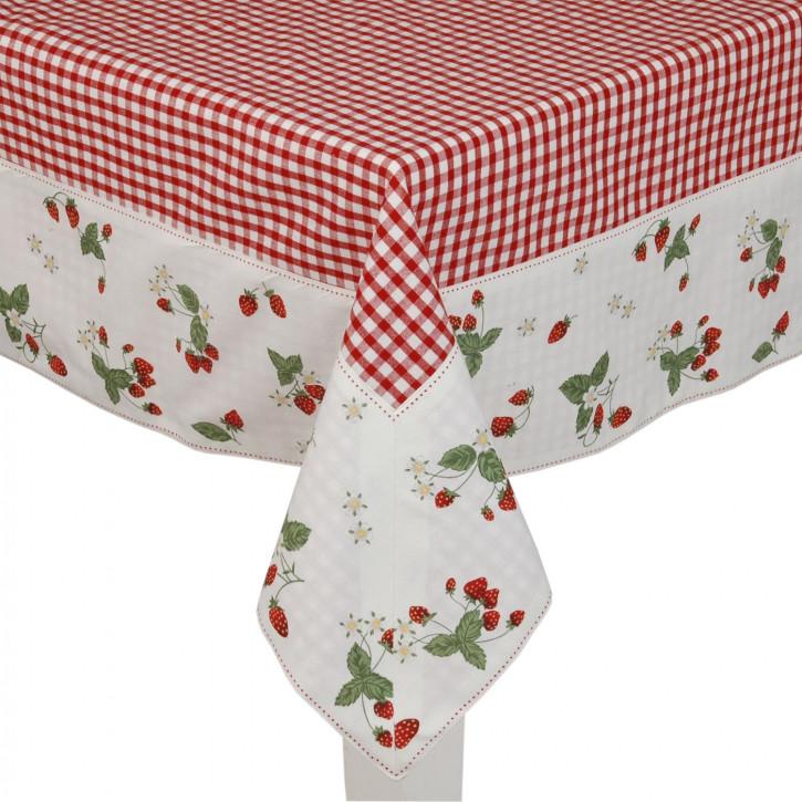 Tischdecke rot mit Erdbeeren 100x100cm