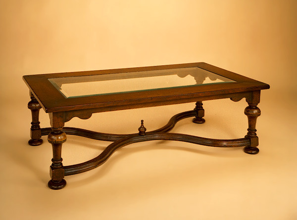 Glass Top - Coffee Table - Crinoline Stretcher