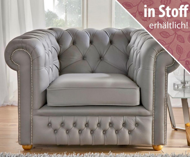 """Chesterfield Sessel """"Carter"""" in Stoff"""