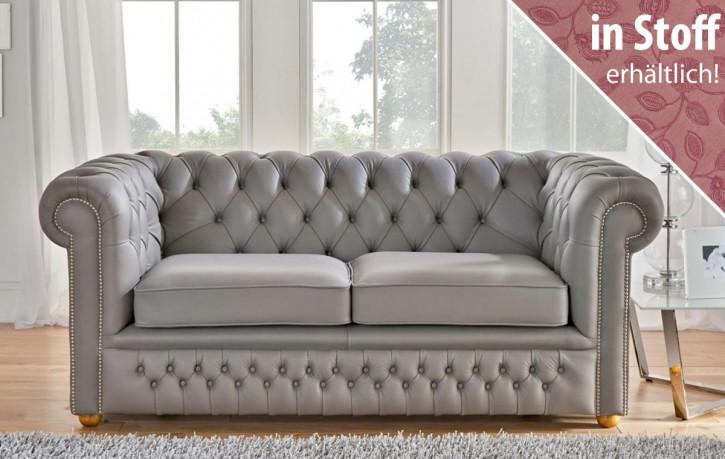 """Original englisches Chesterfield Sofa """"Carter"""" in Stoff, 2 Sitzer"""