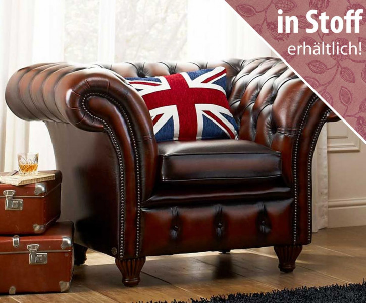 """Chesterfield Sessel """"Empire"""" in Stoff"""