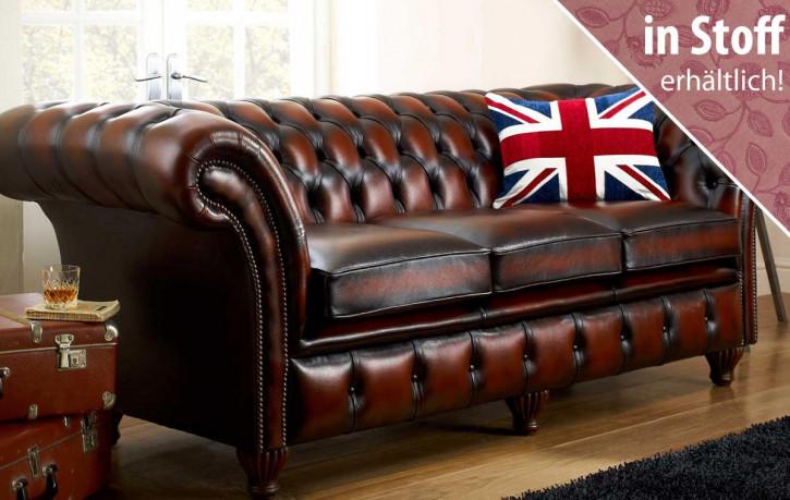 """Original englisches Chesterfield Sofa """"Empire"""" in Stoff, 3 Sitzer"""