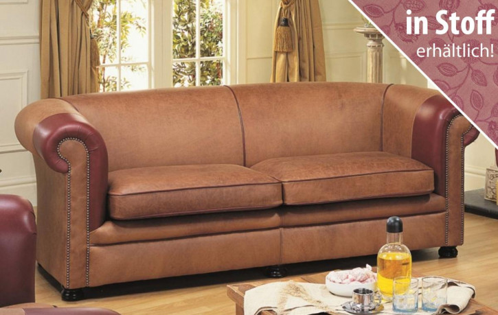"""Original englishes Chesterfield Sofa """"Nathan Plain"""" in Stoff, 2 Sitzer"""