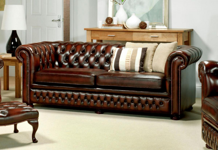"""Tudor"" original Chesterfield 3-Sitzer"