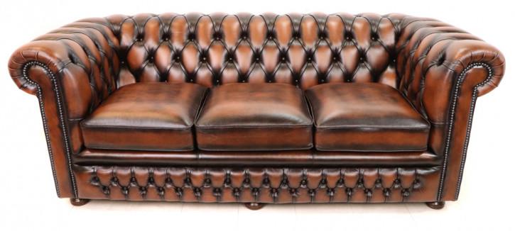 """Sofort lieferbar: Chesterfield Sofa 3 Sitzer """"Austin"""", braun / Antique Tan"""