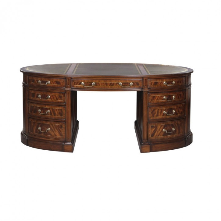 Partnersdesk Oval Schreibtisch leder Top Oberfläche