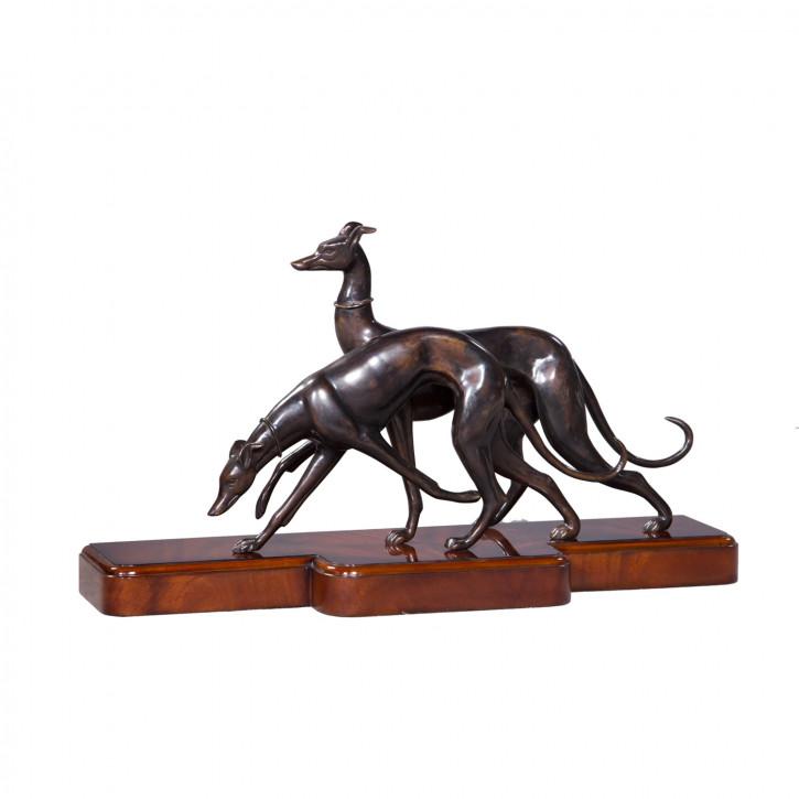 """""""Zwei Windhunde"""" Bronzefiguren"""