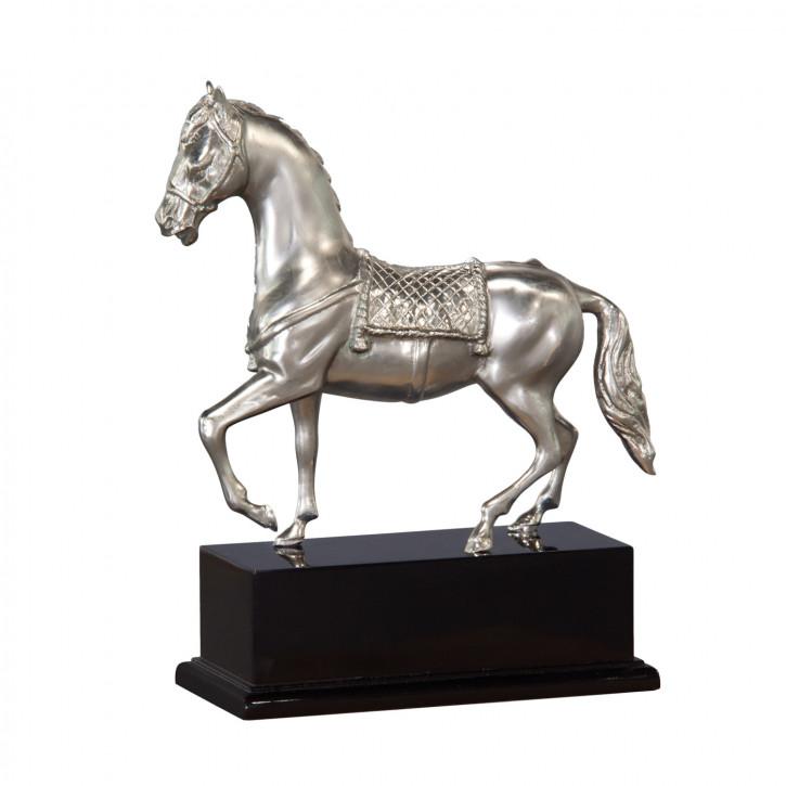 """""""Pferdeskulptur"""" vernickelte Bronzefigur mit handbemalten Details"""