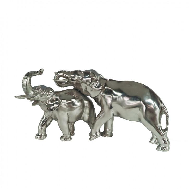 """Zwei Elefanten"" vernickelte Bronzefiguren mit handbemalten Akzenten"