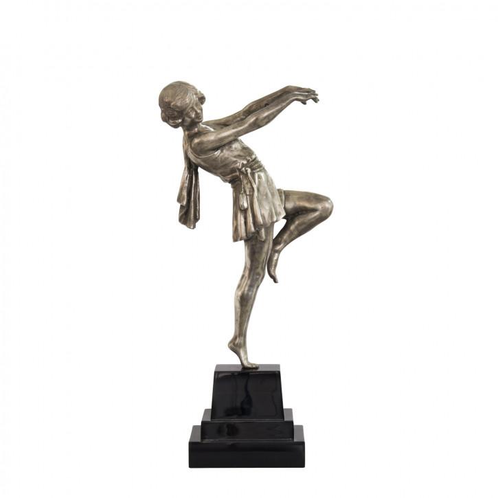 """""""Tanzende Frau"""" vernickelte Bronzefigur mit handbemalten Details"""