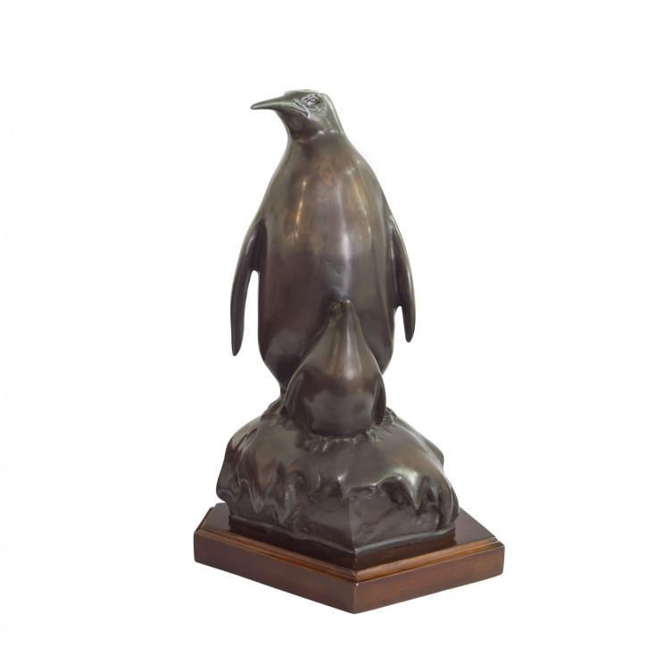"""""""Pinguin mit Baby"""" Bronzefigur"""