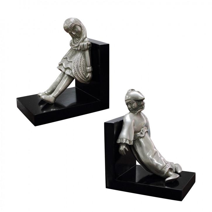 """""""Mädchen und Clown II"""" Buchstützen aus vernickelter Bronze mit handbemalten Akzenten"""