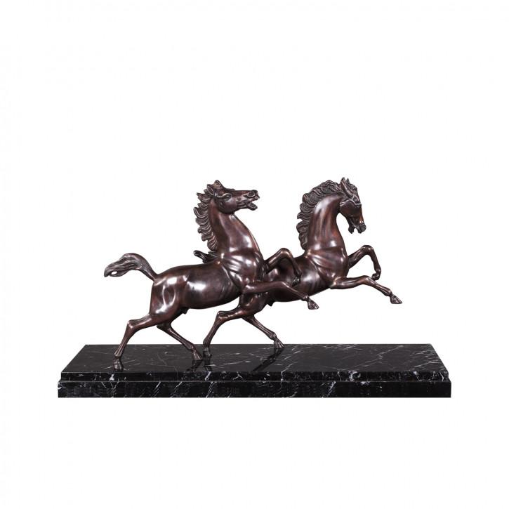 """""""Gallopierende Pferde"""" Bronzefigur auf Marmorsockel"""