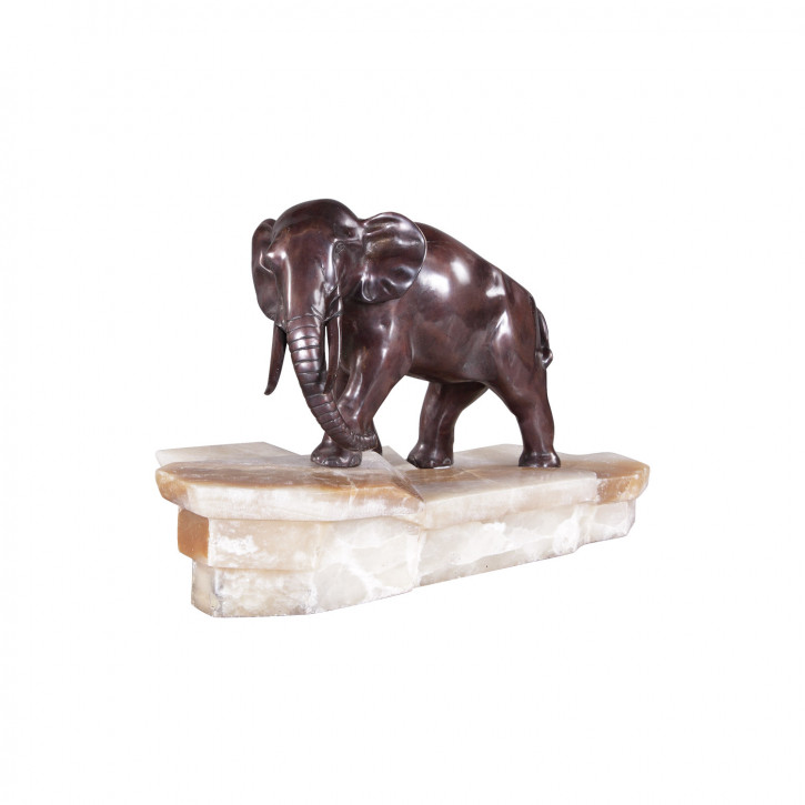 """Trottender Elephant"" Bronzefigur"