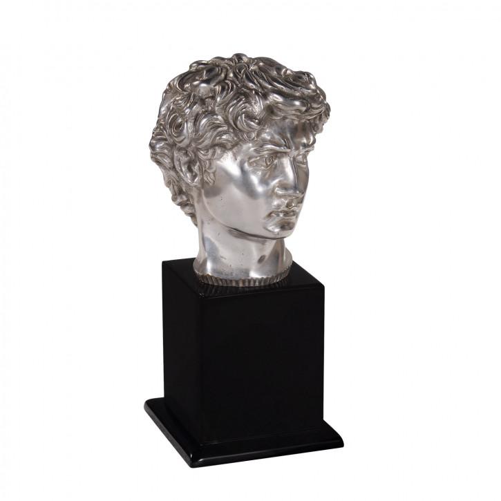 """""""David"""" vernickelte Büste aus Bronze mit handbemalten Details"""