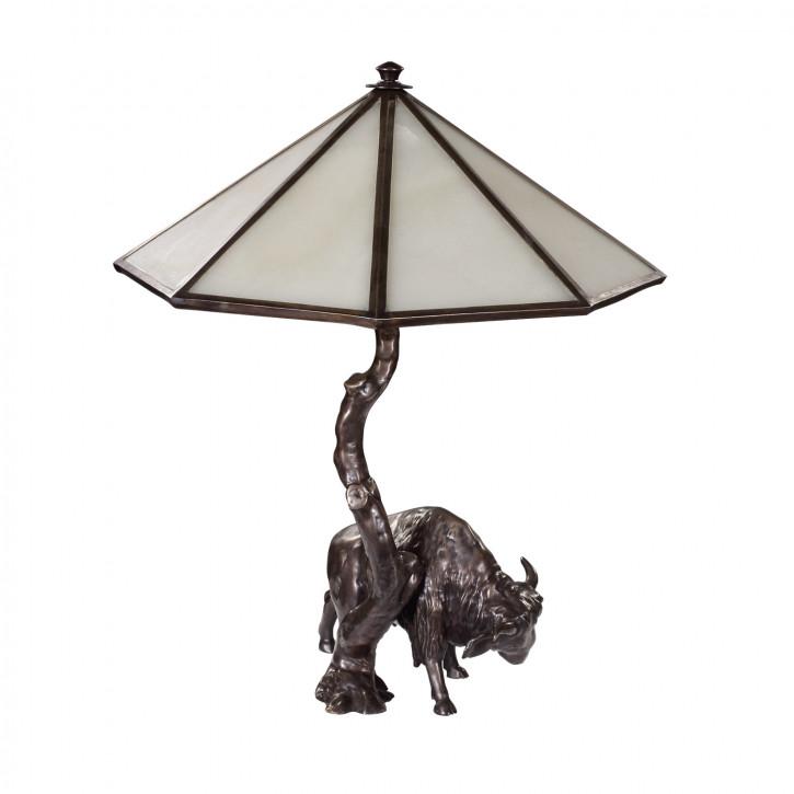 """""""Bison Lampe"""" Bronzefigur"""