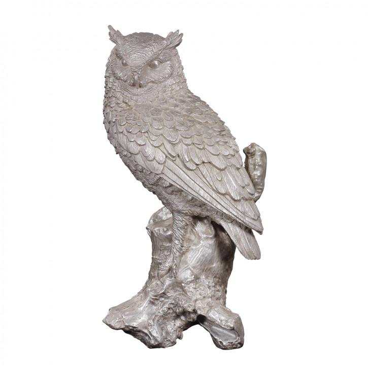 """""""Eule"""" vernickelte Bronzefigur mit handbemalten Details"""