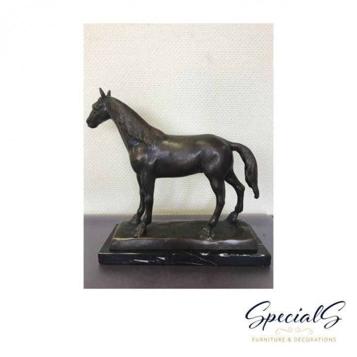 """""""Pferd auf Marmorsockel"""" Bronzefigur"""