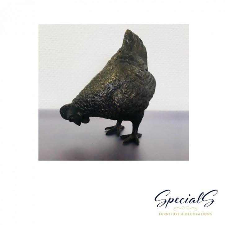 """""""Henne auf Futtersuche"""" Bronzefigur"""