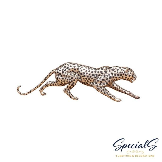 """""""Gepard"""" Bronzefigur vernickelt mit handbemalten Akzenten"""