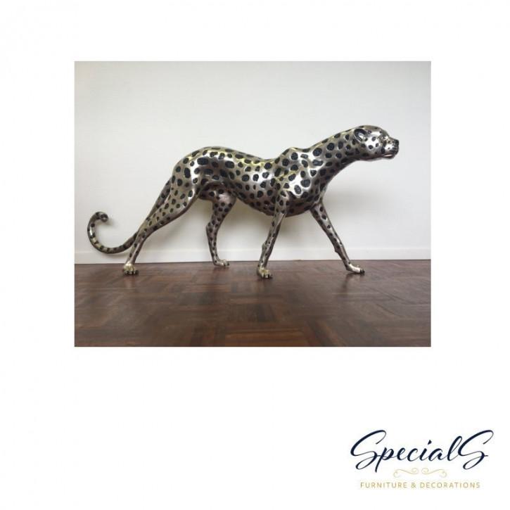 """""""Stehender Gepard"""" Bronzefigur vernickelt mit handbemalten Akzenten"""