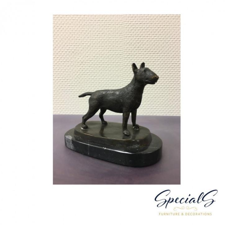 """""""Englischer Bull Terrier auf Marmorsockel"""" Bronzefigur"""