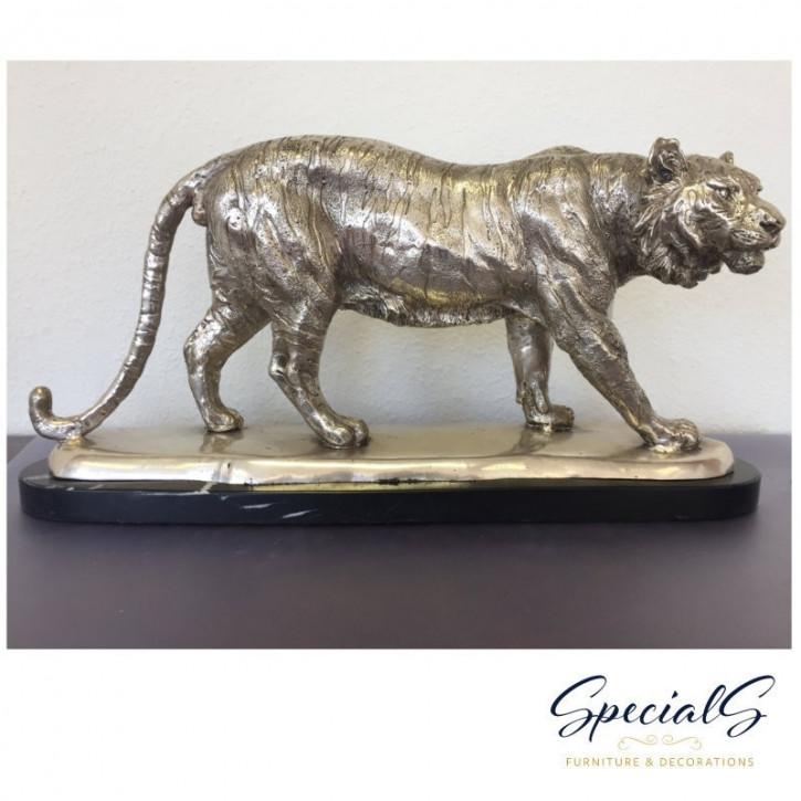 """""""Tiger"""" Bronzefigur vernickelt mit handbemalten Akzenten"""