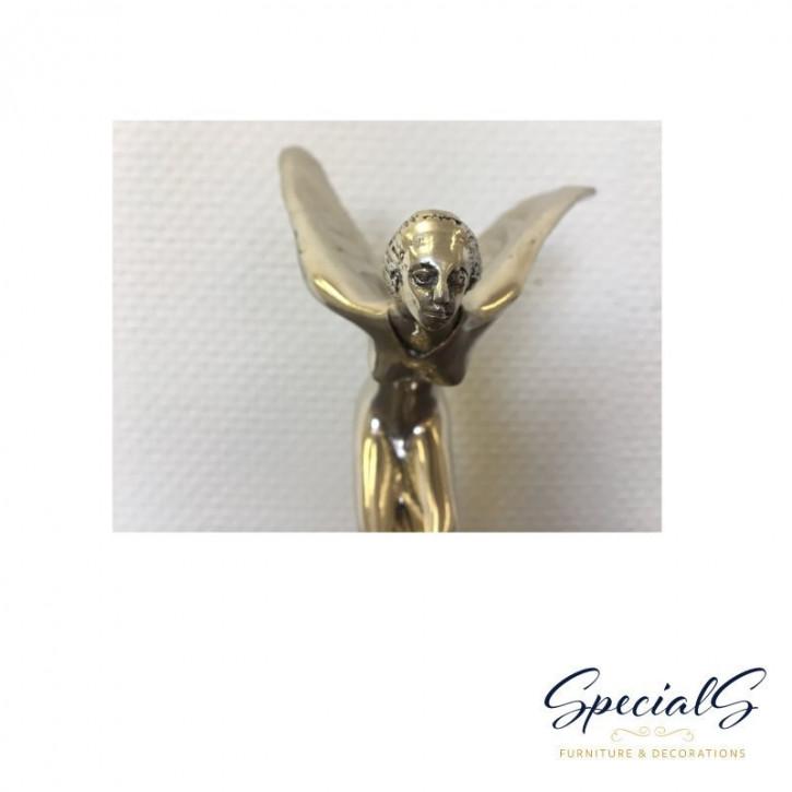 """""""Geflügeltes Mädchen II"""" vernickelte Bronzefigur mit handbemalten Details"""
