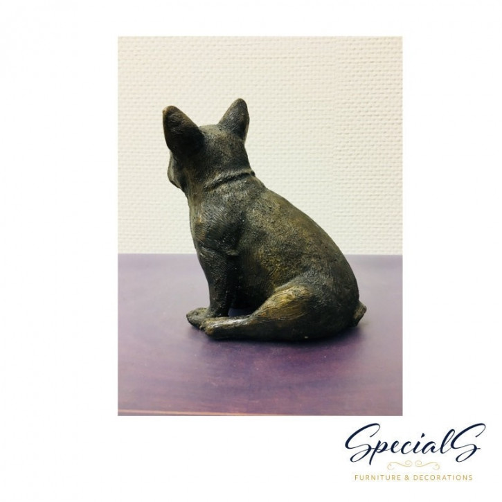"""""""Sitzende französische Bulldogge"""" Bronzefigur"""