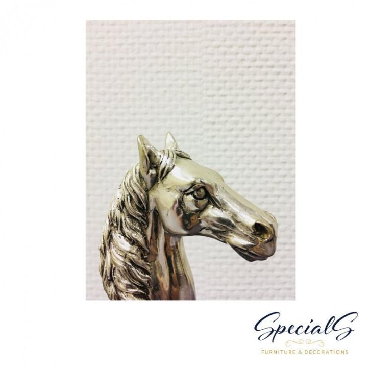 """""""Pferdekopf"""" vernickelte Bronzefigur mit handbemalten Details"""