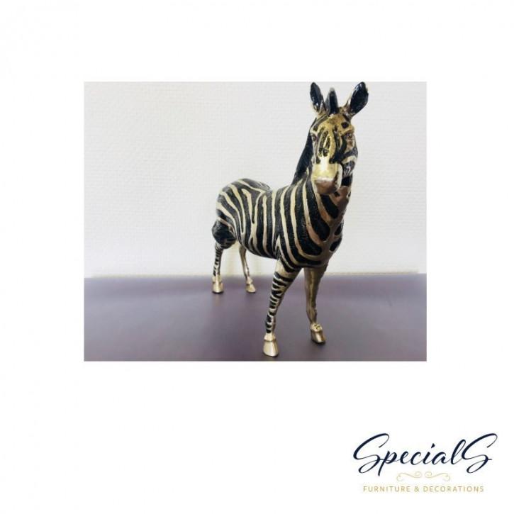 """""""Zebra"""" vernickelte Bronzefigur mit handbemalten Details"""
