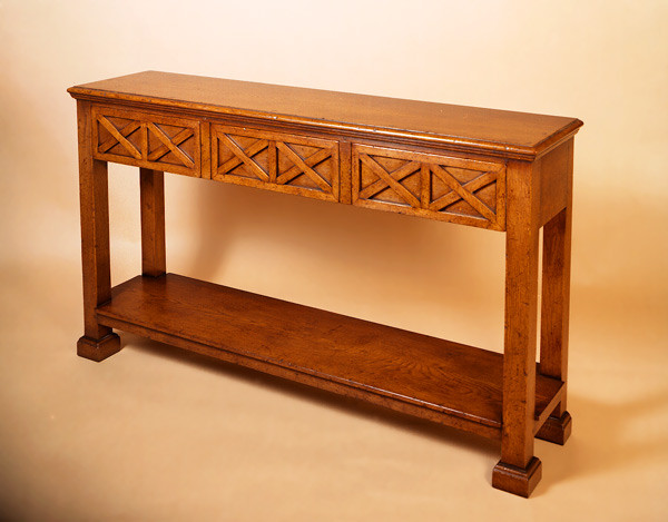 Contemp. Three Drawer Console Side Table 55""
