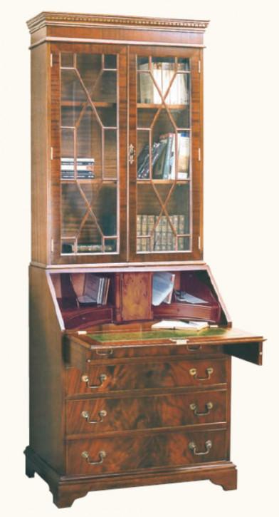 Bücherschrank mit Sekretär aus Mahagoni