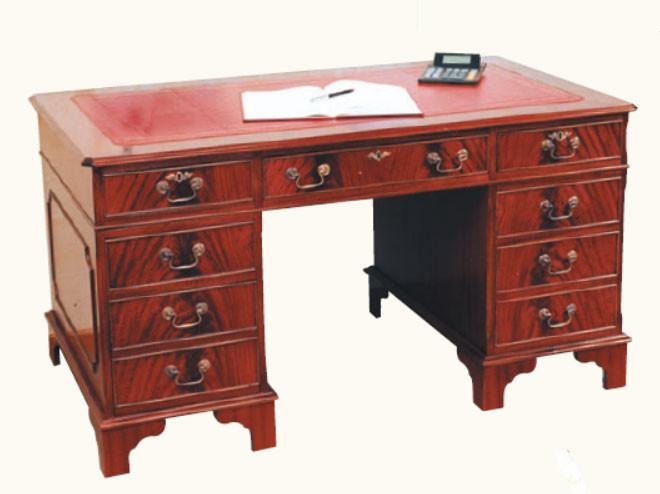 """Schreibtisch """"Pedestal Desk"""" Mahagoni mit 10 Schubladen"""