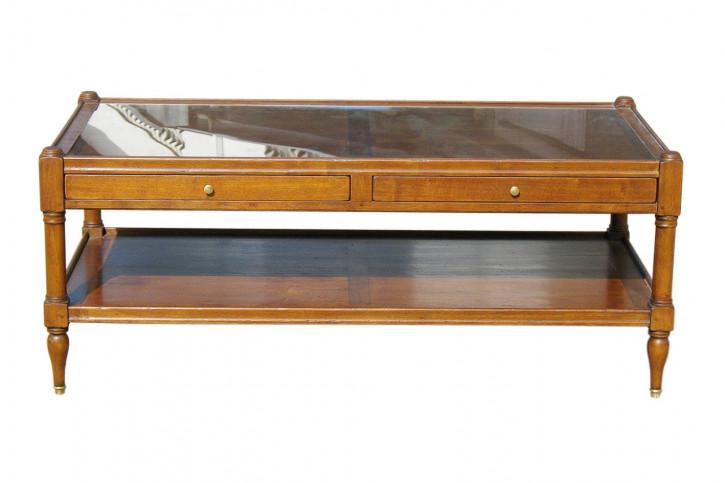 Couchtisch Landhaus-Stil aus Holz  - 2 Schubladen, Glasplatte